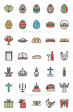 35 Easter Line Multicolor Filled Icons - Preview - IconBunny