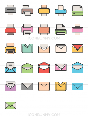 26 Email & Printers Line Multicolor Filled Icons - Preview - IconBunny