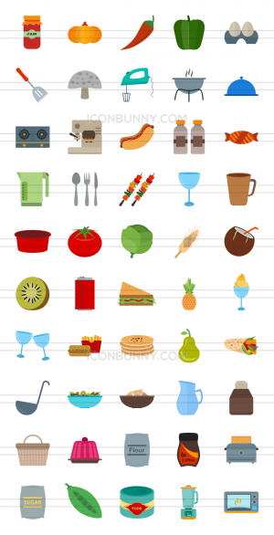 50 Food Flat Multicolor Icons - Preview - IconBunny