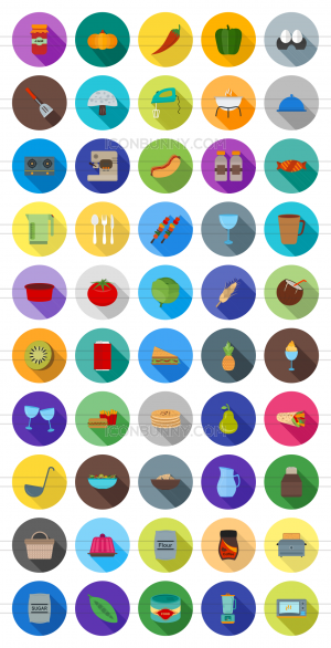 50 Food Flat Shadowed Icons - Preview - IconBunny