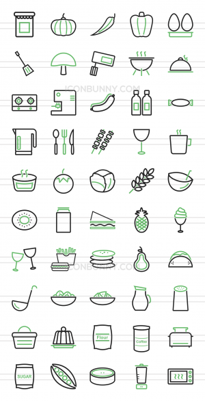 50 Food Line Green & Black Icons - Preview - IconBunny