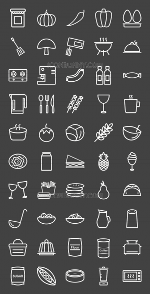 50 Food Line Inverted Icons - Preview - IconBunny