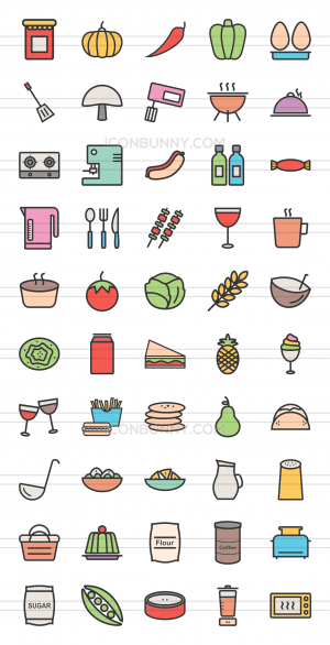 50 Food Line Multicolor Filled Icons - Preview - IconBunny