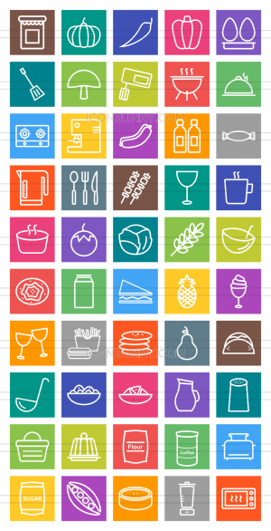 50 Food Line Multicolor B/G Icons - Preview - IconBunny