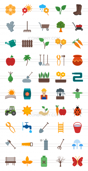 50 Gardening Flat Multicolor Icons - Preview - IconBunny