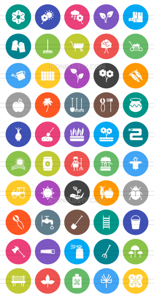 50 Gardening Flat Round Icons - Preview - IconBunny