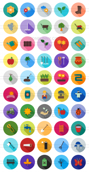 50 Gardening Flat Shadowed Icons - Preview - IconBunny