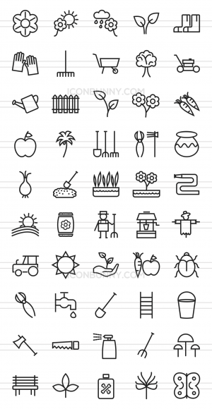 50 Gardening Line Icons - Preview - IconBunny