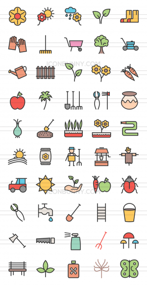 50 Gardening Line Multicolor Filled Icons - Preview - IconBunny