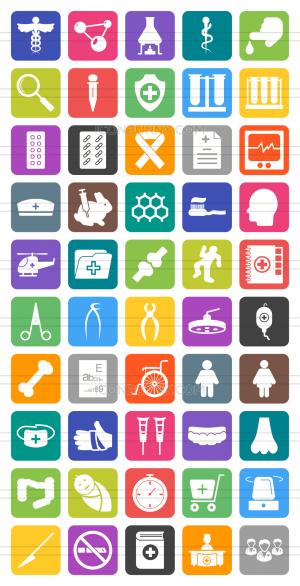 50 Healthcare Flat Round Corner Icons - Preview - IconBunny