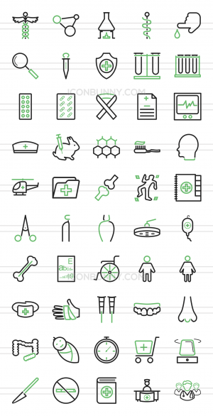 50 Healthcare Line Green & Black Icons - Preview - IconBunny