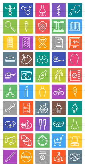 50 Healthcare Line Multicolor B/G Icons - Preview - IconBunny