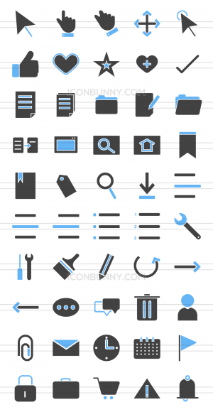 50 Interface Blue & Black Icons - Preview - IconBunny