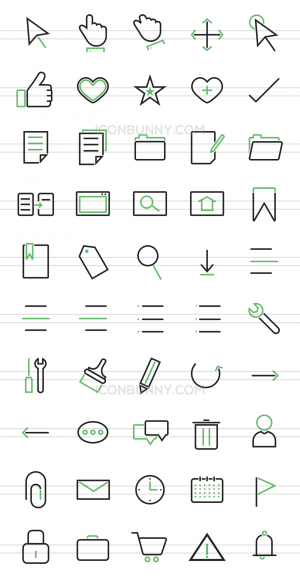 50 Interface Line Green & Black Icons - Preview - IconBunny