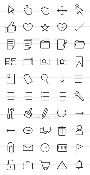 50 Interface Line Icons - Preview - IconBunny
