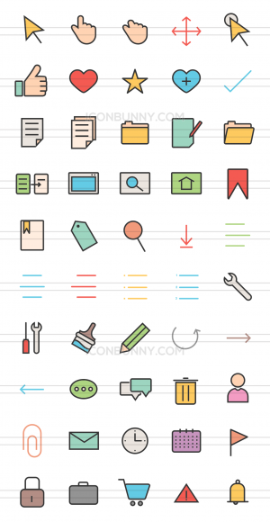 50 Interface Line Multicolor Filled Icons - Preview - IconBunny