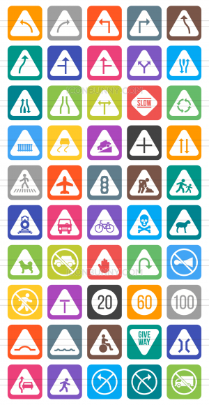 50 Traffic Signs Flat Round Corner Icons - Preview - IconBunny