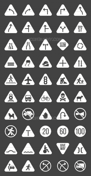 50 Traffic Signs Glyph Inverted Icons - Preview - IconBunny