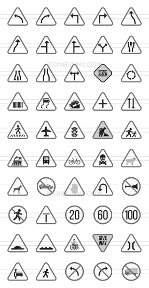 50 Traffic Signs Greyscale Icons - Preview - IconBunny