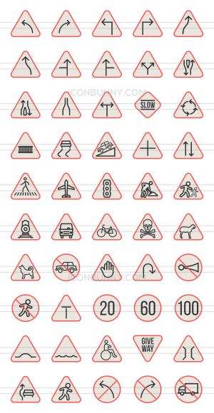 50 Traffic Signs Line Multicolor Filled Icons - Preview - IconBunny