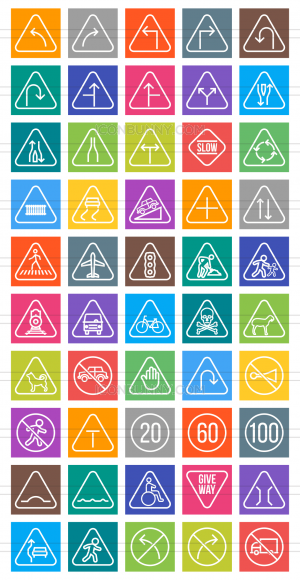 50 Traffic Signs Line Multicolor B/G Icons - Preview - IconBunny