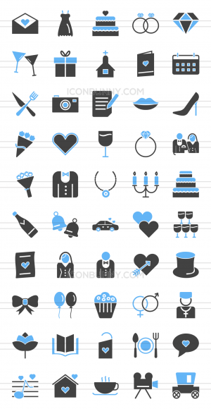 50 Wedding Blue & Black Icons - Preview - IconBunny