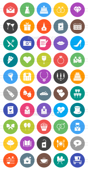 50 Wedding Flat Round Icons - Preview - IconBunny