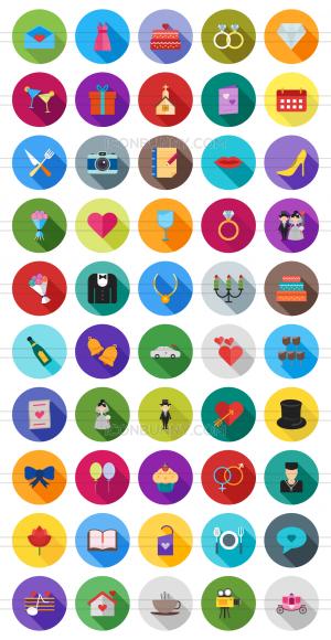 50 Wedding Flat Shadowed Icons - Preview - IconBunny