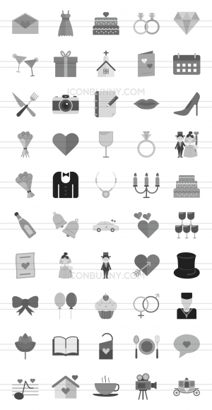 50 Wedding Greyscale Icons - Preview - IconBunny