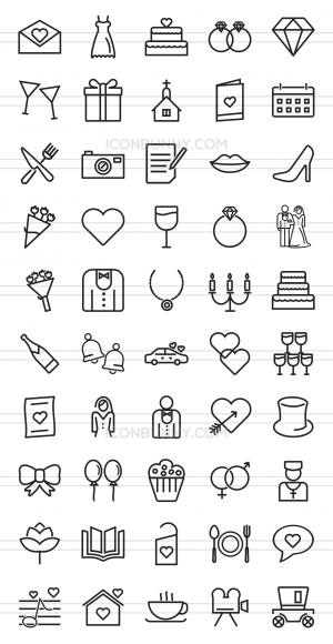 50 Wedding Line Icons - Preview - IconBunny