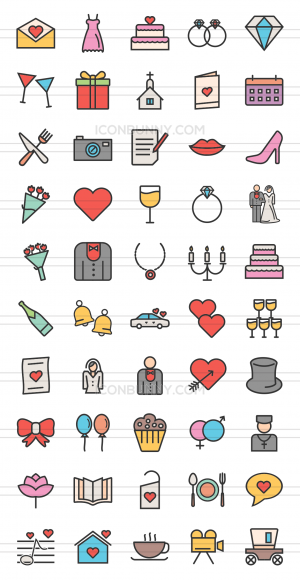 50 Wedding Line Multicolor Filled Icons - Preview - IconBunny