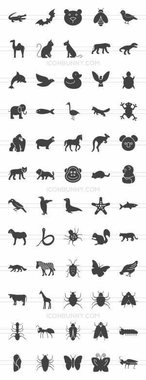 60 Animals & Insects Glyph Icons - Preview - IconBunny