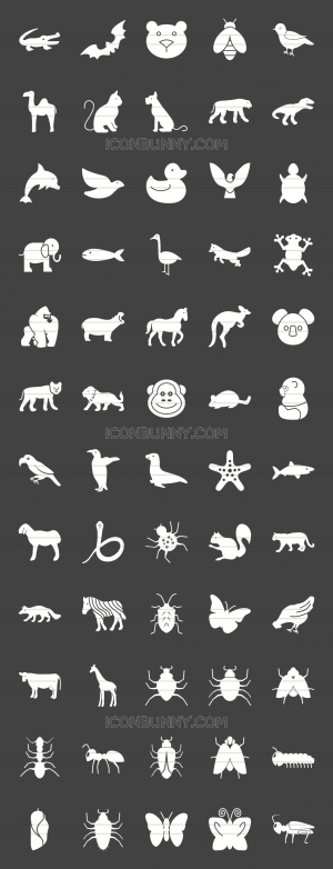 60 Animals & Insects Glyph Inverted Icons - Preview - IconBunny