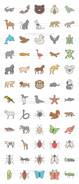 60 Animals & Insects Line Multicolor Filled Icons - Preview - IconBunny