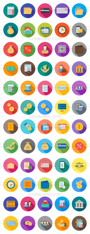 60 Banking Flat Shadowed Icons - Preview - IconBunny