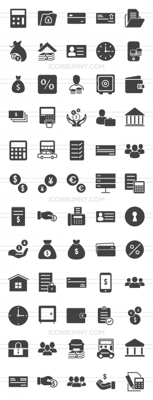 60 Banking Glyph Icons - Preview - IconBunny