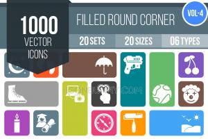 1000 Flat Round Corner Icons Bundle - Overview - IconBunny