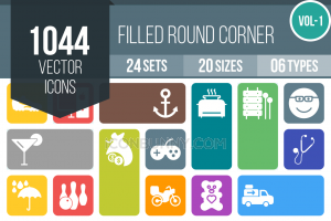 1044 Flat Round Corner Icons Bundle - Overview - IconBunny