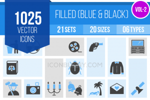 1025 Blue & Black Icons Bundle - Overview - IconBunny