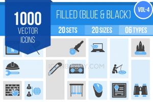 1000 Blue & Black Icons Bundle - Overview - IconBunny