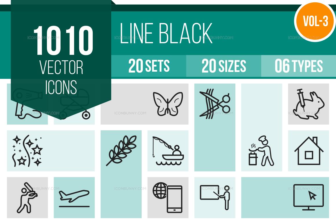 1000+ Line Icons Bundle (V-3)