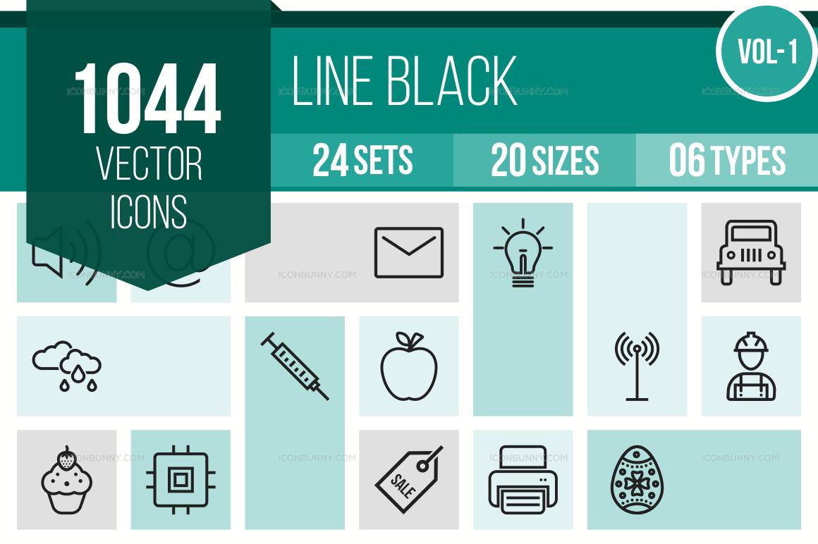 1000+ Line Icons Bundle (V-1)