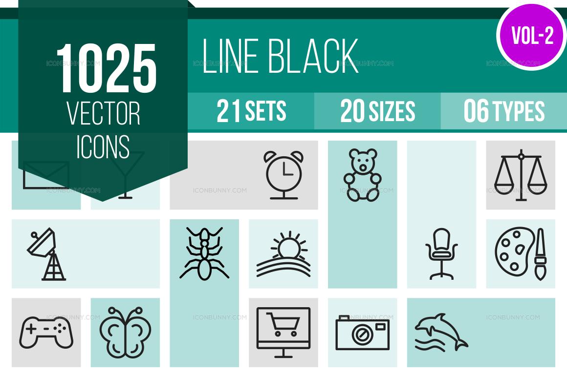 1000+ Line Icons Bundle (V-2)