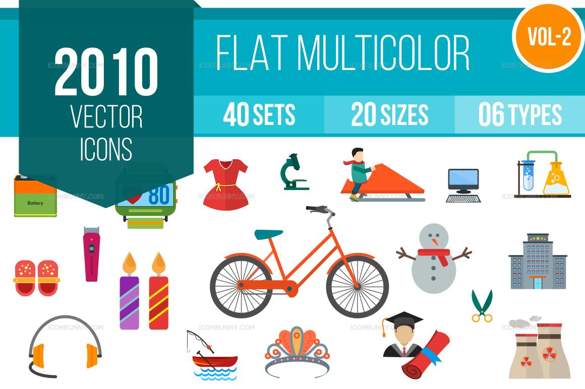 2000+ Flat Multicolor Icons Bundle (V-2)