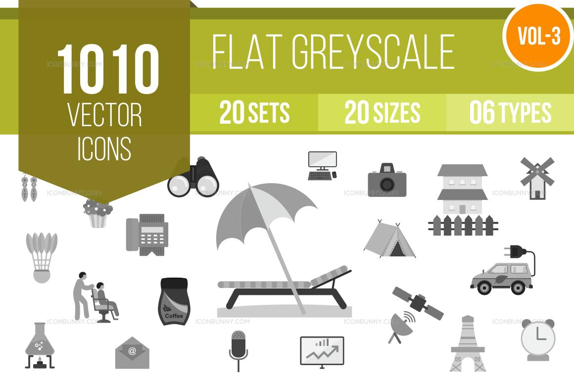 1000+ Greyscale Icons Bundle (V-3)