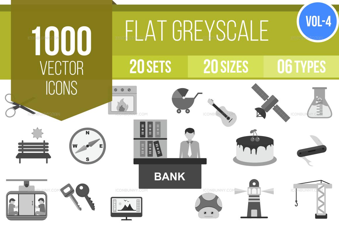 1000+ Greyscale Icons Bundle (V-4)