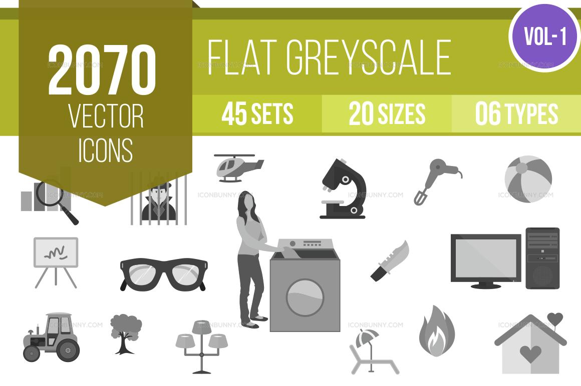 2000+ Greyscale Icons Bundle (V-1)