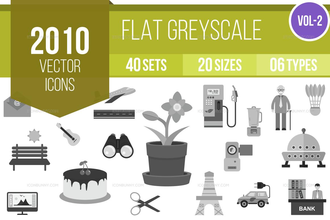 2000+ Greyscale Icons Bundle (V-2)