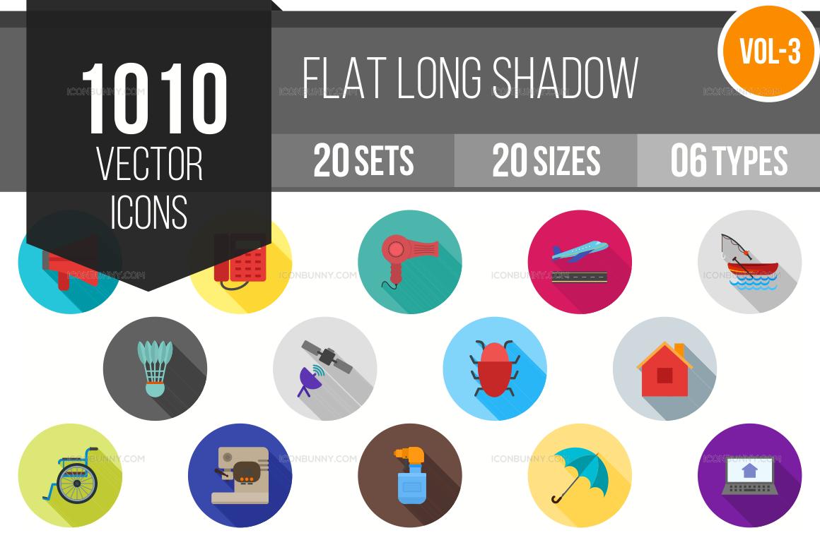 1000+ Flat Shadowed Icons Bundle (V-3)
