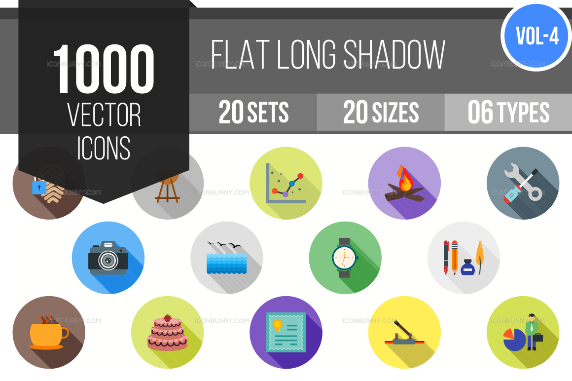 1000+ Flat Shadowed Icons Bundle (V-4)
